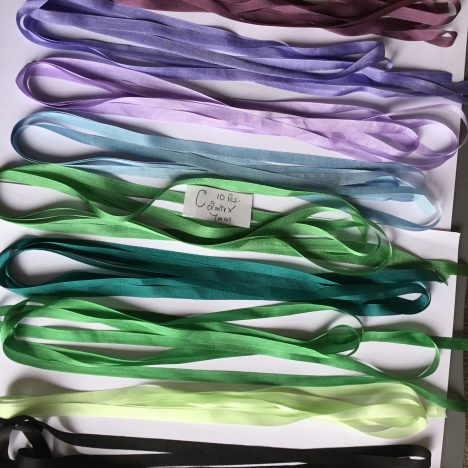 C Silk Ribbons 10 pieces 2 mtr x 7mm